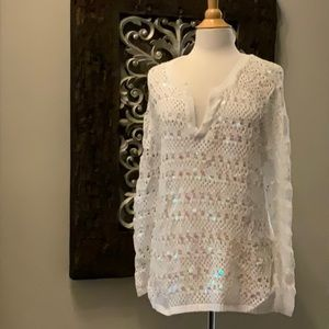 NWT White Summer Glam crocheted coverup top sz XL
